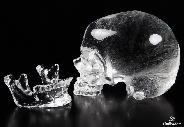 "Clear Lifesized 6.8"" Quartz Rock Crystal Carved Crystal Skull, Detachable"