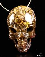 Gemstone Pietersite Carved Crystal Skull Pendant