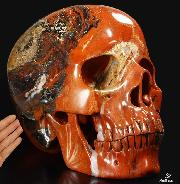 "Titan 16.7"" Red Jasper Carved Crystal Skull, Super Realistic"