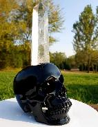 "The Source of the Energy - Huge 11.3"" Black Obsidian Carved Crystal Skull Sculpture with Clear Quartz Rock Crystal Point"
