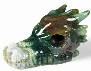 "Huge 5.0"" Indian Agate Carved Crystal Dragon Skull"