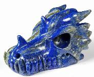 "Gemstone Huge 5.2"" Lapis Lazuli Carved Crystal Dragon Skull"