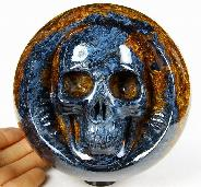 "Awesome Gemstone Huge 4.8"" Blue, Gold & Red Pietersite Carved Crystal Double Skulls Sculpture"