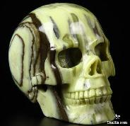 "2.5"" Butter Jade Carved Crystal Skull, Realistic"