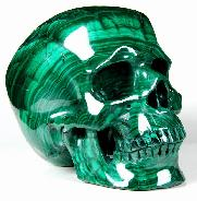 "Awesome Gem Quality Huge 5.7"" Malachite Carved Crystal Skull, Super Realistic"