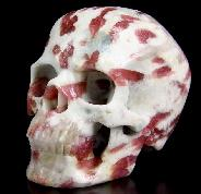 "Gemstone Huge 4.3"" Tourmaline Carved Crystal Skull, Super Realistic"