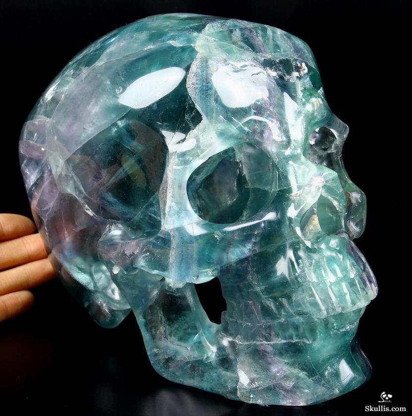 Nice gemstone lifesized quot fluorite carved crystal skull