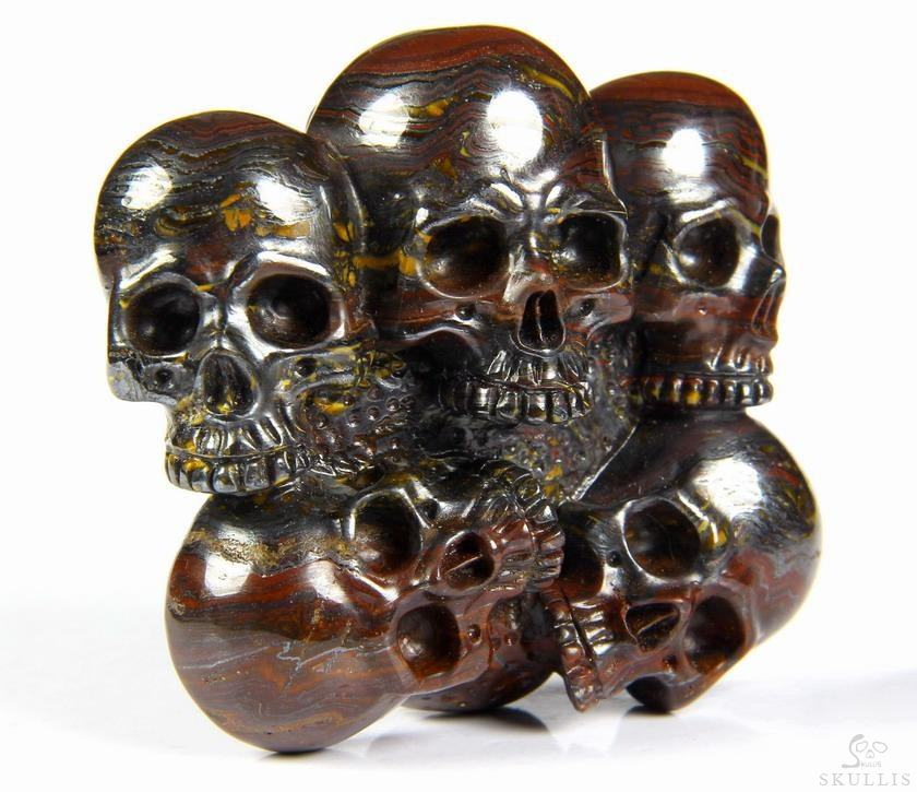 Colorful Tiger Iron Eye Crystal Skulls Buckle