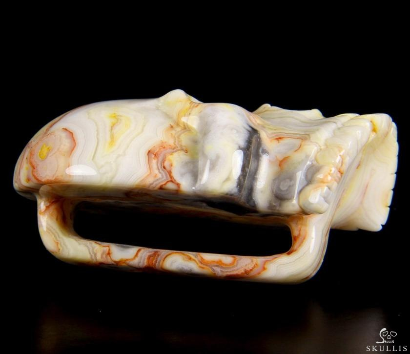 Crazy lace Agate Crystal Skull Buckle