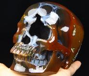 "Huge 5.2"" Quartz Rock Crystal Carved Crystal Skull Container with Snake Cover"