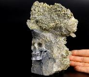 "Huge 6.3"" Quartz Druse Carved Crystal Skull with Pyrite"