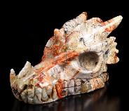 "Gemstone Huge 5.0"" Red Crazy Lace Agate Carved Crystal Dragon Skull"