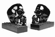 Elegant Black Obsidian Carved Crystal Skull Bookends Set