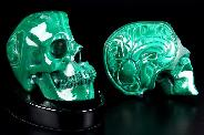 "Awesome Gemstone Huge 4.9"" Malachite Carved Crystal Skull Sculpture with Black Obsidian Stand"