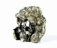 "Nice 1.4"" Pyrite Druse Carved Crystal Skull Sculpture"