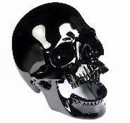 "Huge 5.2"" Black Obsidian Carved Crystal Laughing Skull"