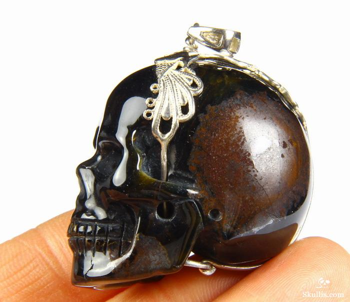 Blue & Gold Tiger Eye Crystal Skull Pendant