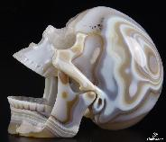 "Nice Huge 5.4"" Agate Carved Crystal Skull"