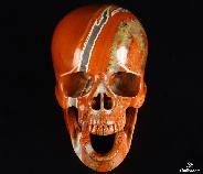 "Huge 5.2"" Red Jasper Carved Crystal Laughing Skull"