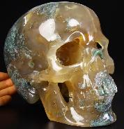 "Nice Lifesized 7.6"" Green Moss Agate Carved Crystal Skull, Super Realistic"