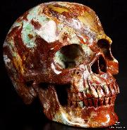 "Huge 5.4"" African Turquoise Carved Crystal Skull, Super Realistic"