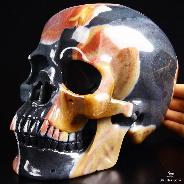 "Lifesized 7.7"" Polychrome Jasper Carved Crystal Skull, Super Realistic"