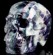 "Lifesized 6.5"" Fluorite Carved Crystal Skull, Super Realistic"