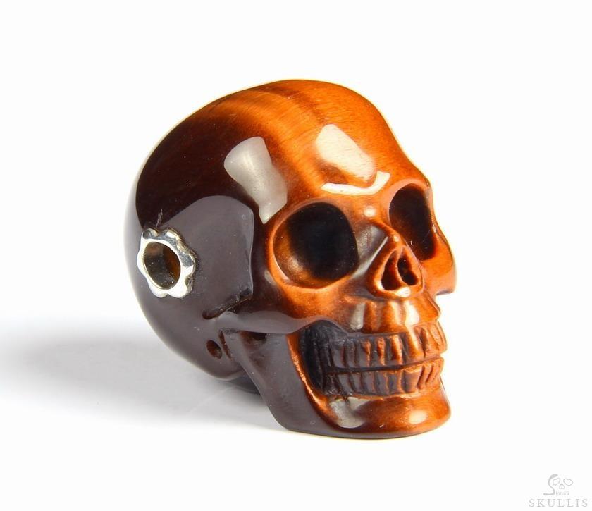 amazing flash gemstone tiger eye carved skull
