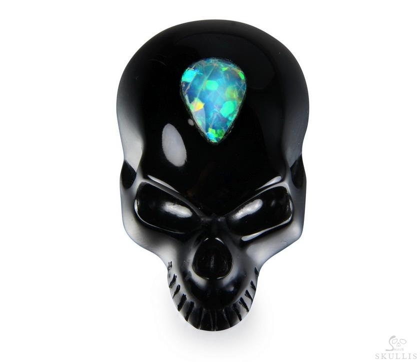Opal WIth Black Obsidian Crystal Skull Pendant
