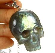 Amazing Flash Gemstone Labradorite Carved Crystal Skull Pendant with Sterling Silver