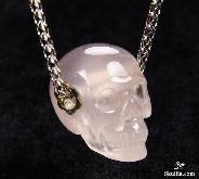 Gemstone Rose Quartz Carved Crystal Skull Pendant