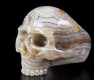 Gemstone Size 7, Crazy Lace Agate Carved Crystal Skull Ring