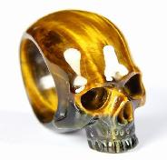 Amazing Flash Gemstone Size 9 1/2, Blue & Gold Tiger Eye Carved Crystal Skull Ring
