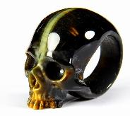 Amazing Flash Gemstone Size 8, Blue & Gold Tiger Eye Carved Crystal Skull Ring