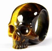 Amazing Flash Gemstone Size 11, Blue & Gold Tiger Eye Carved Crystal Skull Ring