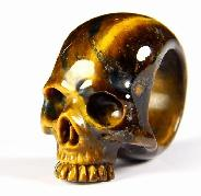 Amazing Flash Gemstone Size 7, Blue & Gold Tiger Eye Carved Crystal Skull Ring