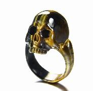 Amazing Flash Gemstone Size 9, Blue & Gold Tiger Eye Carved Crystal Skull Ring