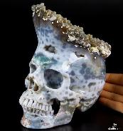 "Awesome Huge 6.2"" Ocean Jasper & Druse Carved Crystal Skull Sculpture"