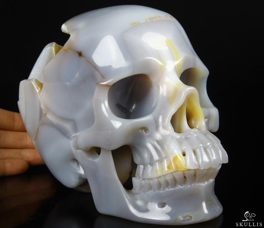 Quot agate carved crystal skull realistic skullis