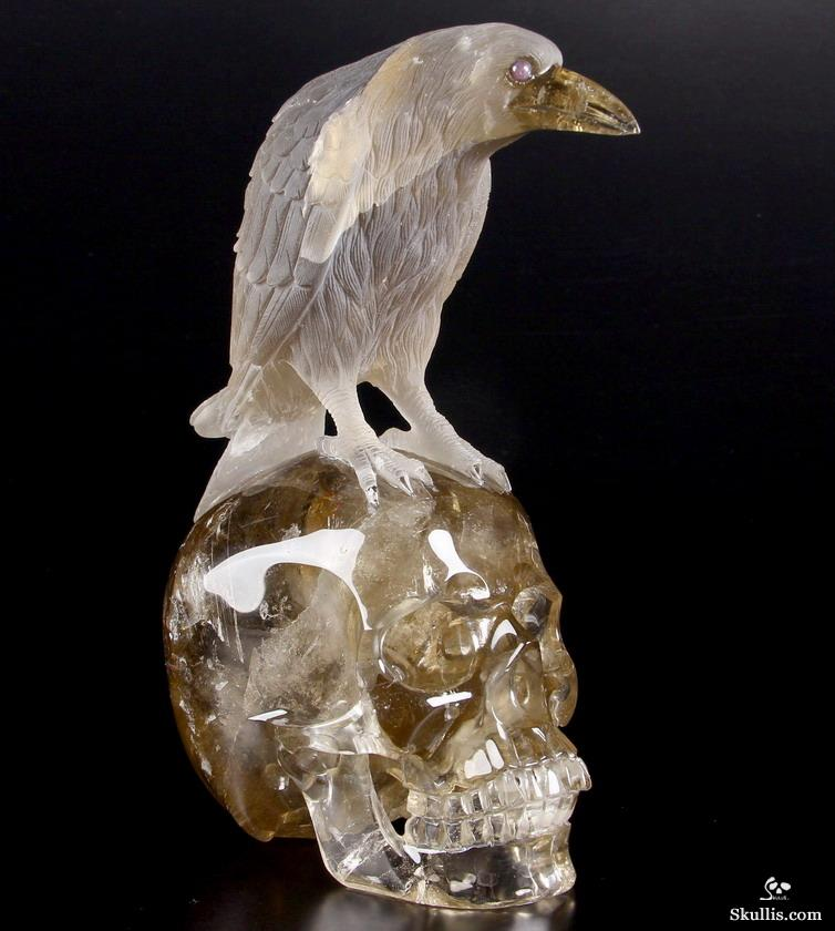 Smoky Quartz Rock Crystal Crystal Skull & Raven Sculpture