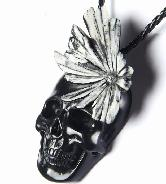 Chrysanthemum Stone Carved Crystal Skull Pendant