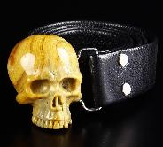 Crazy Lace Agate & 925 Sterling Silver Carved Crystal Skull Belt with 925 Sterling Silver