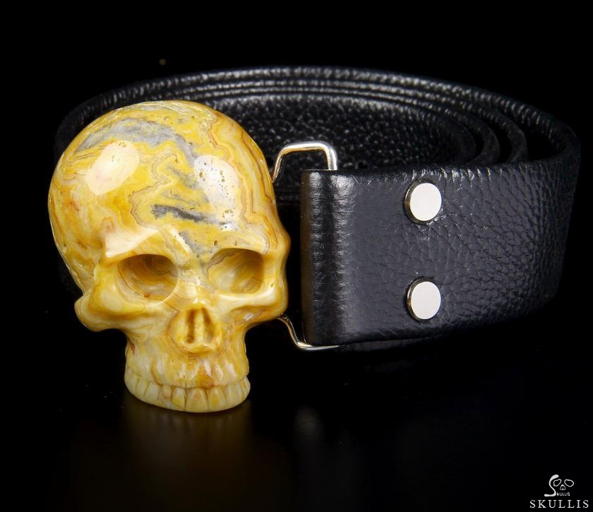 Crazy Lace Agate Crystal Skull Belt