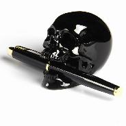 "3.0"" Black Obsidian Carved Crystal Penholder Skull Sculpture"