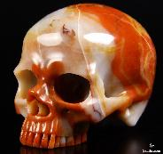 "Huge 4.8"" Colorful Agate Carved Crystal Skull without Jaw"