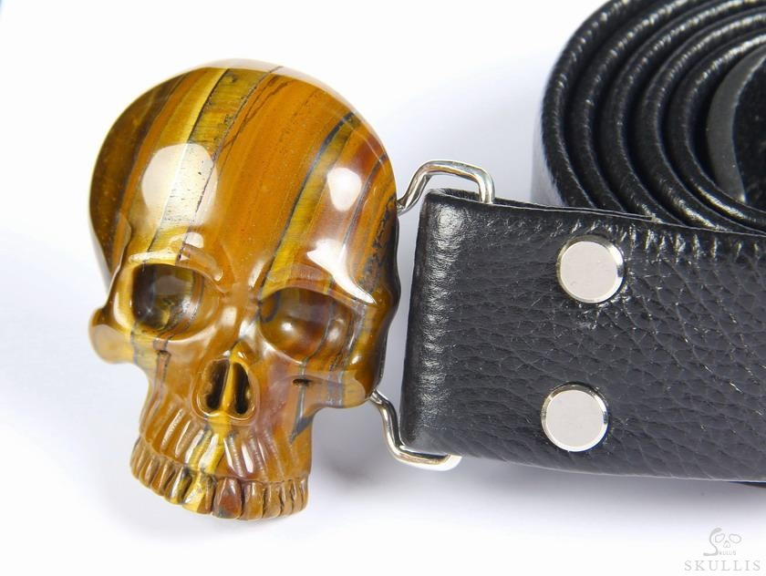 Tiger Iron Eye Crystal Skull Belt