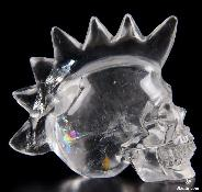 "Rainbow Clear 2.6"" Quartz Rock Crystal Carved Crystal Punk Skull"