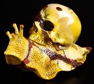 "Amazing Nice Huge 6.3"" Colorful Mookaite Jasper Carved Crystal Skull & Snail Sculpture"