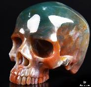 "Huge 4.9"" Indian Agate Carved Crystal Skull without Jaw"