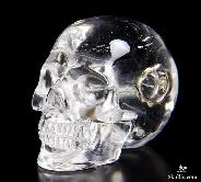 "Clear 1.4"" Quartz Rock Crystal Carved Crystal Skull Pendant"